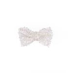 Lace Embroided Small White Bow